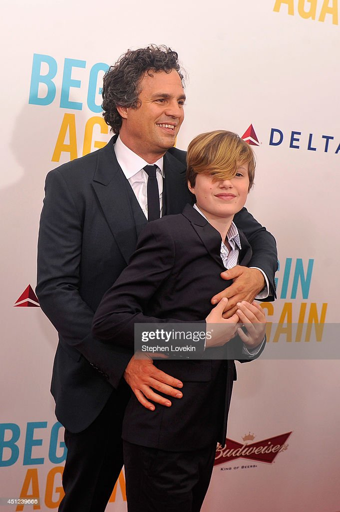 Actor <a gi-track='captionPersonalityLinkClicked' href=/galleries/search?phrase=Mark+Ruffalo&family=editorial&specificpeople=209317 ng-click='$event.stopPropagation()'>Mark Ruffalo</a> (L) and son Keen Ruffalo attend the New York premiere of the Weinstein company's BEGIN AGAIN, sponsored by Delta Airlines and Budweiser at SVA Theater on June 25, 2014 in New York City.