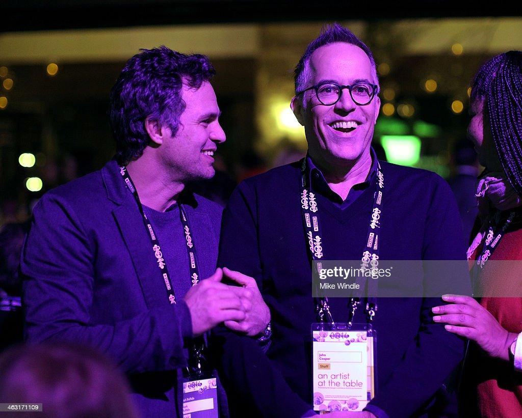 Actor Mark Ruffalo and Sundance Film Festival Director John Cooper attend An Artist at the Table: Dinner Program during the 2014 Sundance Film Festival at Stein Eriksen Lodge on January 16, 2014 in Park City, Utah.