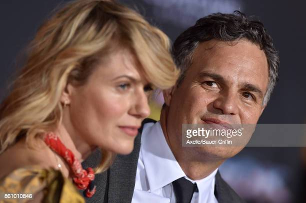 Actor Mark Ruffalo and wife Sunrise Coigney arrive at the premiere of Disney and Marvel's 'Thor Ragnarok' at the El Capitan Theatre on October 10...