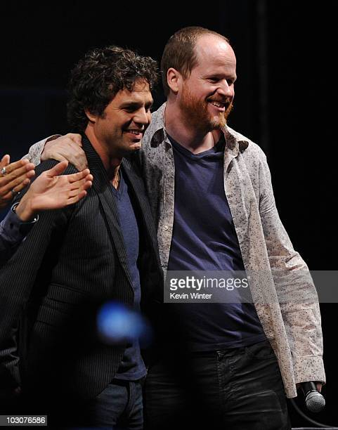 Actor Mark Ruffalo and Writer/Director Joss Whedon pose onstage at the Marvel Studios' 'Captain America The First Avenger' panel during ComicCon 2010...