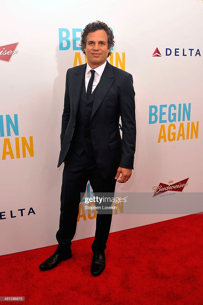Actor <a gi-track='captionPersonalityLinkClicked' href=/galleries/search?phrase=Mark+Ruffalo&family=editorial&specificpeople=209317 ng-click='$event.stopPropagation()'>Mark Ruffalo</a> attends the New York premiere of the Weinstein company's BEGIN AGAIN, sponsored by Delta Airlines and Budweiser at SVA Theater on June 25, 2014 in New York City.