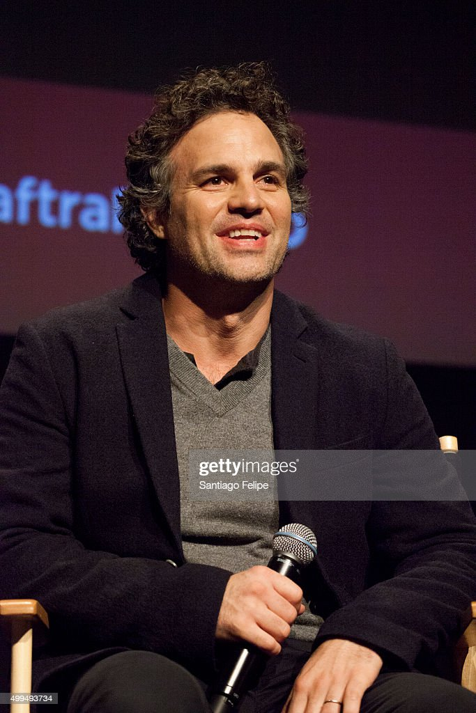Actor <a gi-track='captionPersonalityLinkClicked' href=/galleries/search?phrase=Mark+Ruffalo&family=editorial&specificpeople=209317 ng-click='$event.stopPropagation()'>Mark Ruffalo</a> speaks at The SAG-AFTRA Foundation's Conversations Series at NYIT Auditorium on December 1, 2015 in New York City.