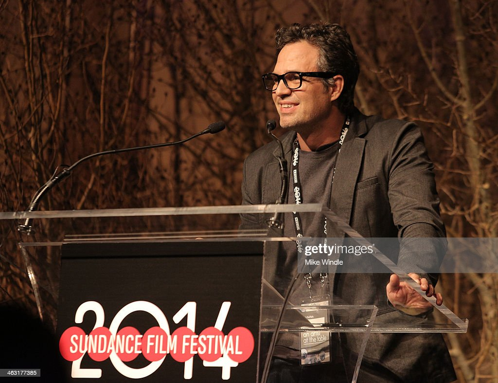 Actor <a gi-track='captionPersonalityLinkClicked' href=/galleries/search?phrase=Mark+Ruffalo&family=editorial&specificpeople=209317 ng-click='$event.stopPropagation()'>Mark Ruffalo</a> speaks onstage at An Artist at the Table: Dinner Program during the 2014 Sundance Film Festival at Stein Eriksen Lodge on January 16, 2014 in Park City, Utah.
