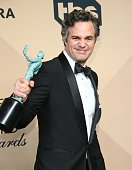 Actor Mark Ruffalo winner for Outstanding Performance by a Cast in a Motion Picture 'Spotlight' poses in the press room at the 22nd Annual Screen...