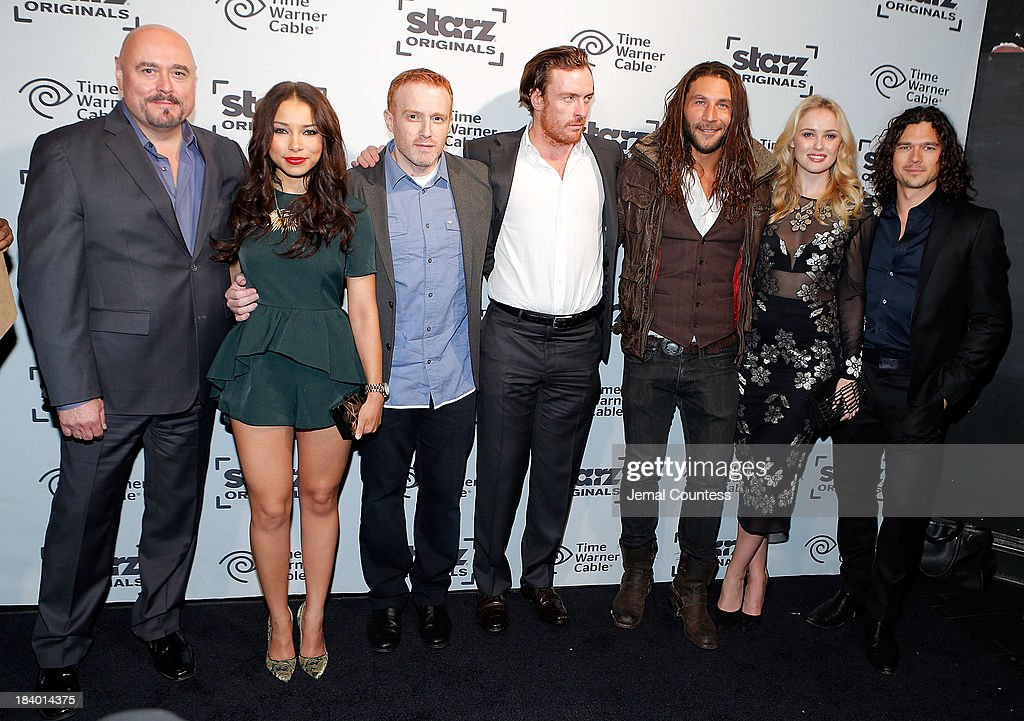 Actor Mark Ryan, actress <a gi-track='captionPersonalityLinkClicked' href=/galleries/search?phrase=Jessica+Parker+Kennedy&family=editorial&specificpeople=6964331 ng-click='$event.stopPropagation()'>Jessica Parker Kennedy</a>, creator and executive producer Jonathen E. Steinberger, actor <a gi-track='captionPersonalityLinkClicked' href=/galleries/search?phrase=Toby+Stephens&family=editorial&specificpeople=806801 ng-click='$event.stopPropagation()'>Toby Stephens</a>, actor Zach MGowan, actress Hannah Newand actor Luke Arnold of the show 'Black Sails' attends the Starz Sleep No More Event at The McKittrick Hotel on October 10, 2013 in New York City.