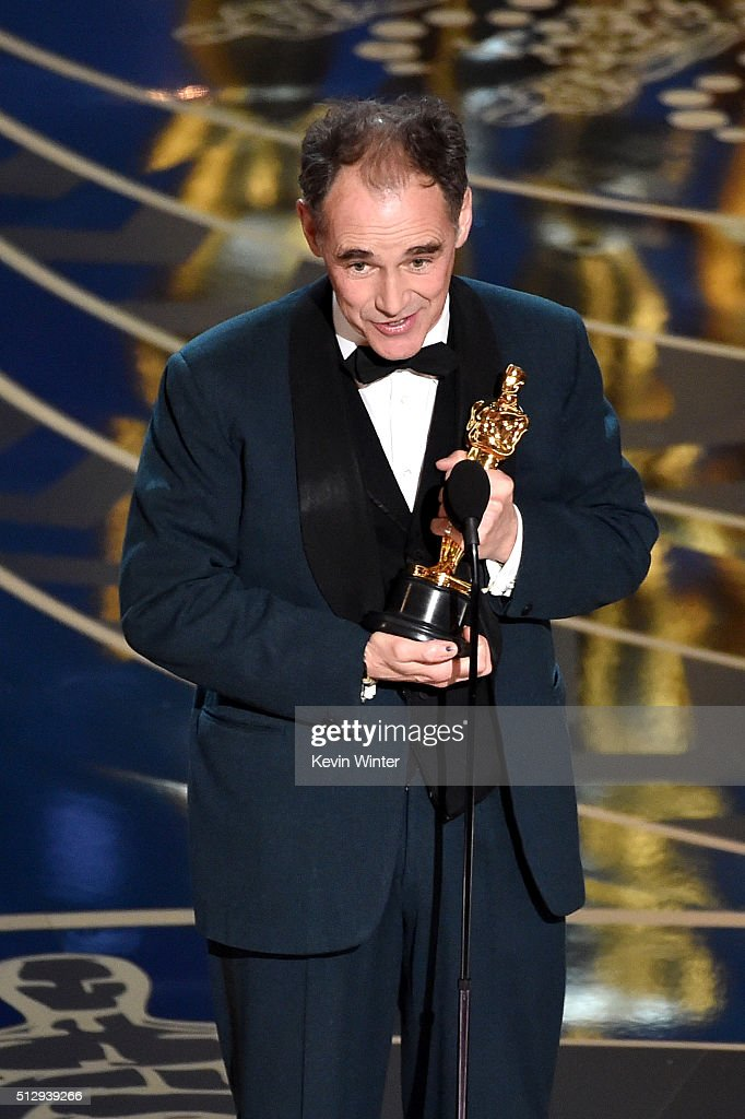 Actor Mark Rylance accepts the Best Supporting Actor award for 'Bridge of Spies' onstage during the 88th Annual Academy Awards at the Dolby Theatre...