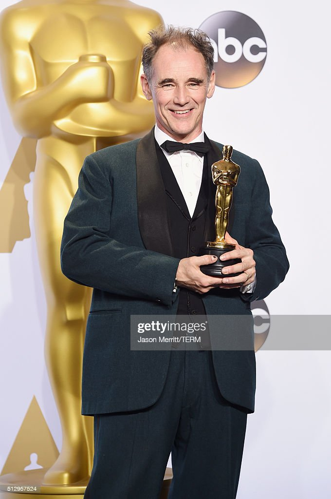 Actor Mark Rylance winner of Best Supporting Actor for 'Bridge of Spies' poses in the press room during the 88th Annual Academy Awards at Loews...