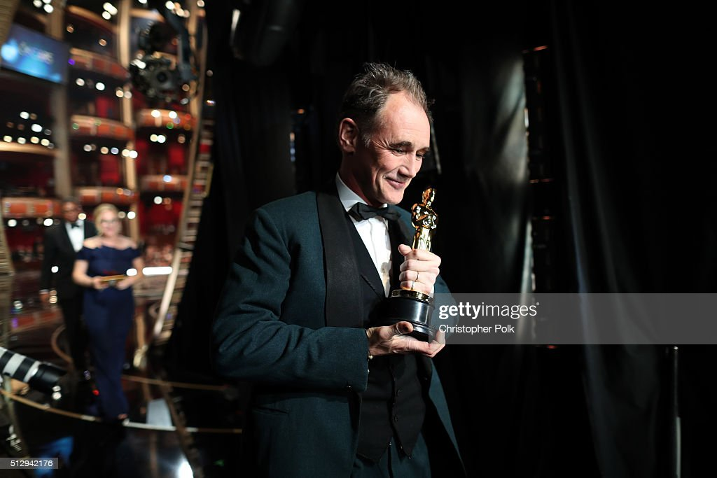 Actor Mark Rylance winner of Best Supporting Actor for 'Bridge of Spies' walks offstage at the 88th Annual Academy Awards at Dolby Theatre on...