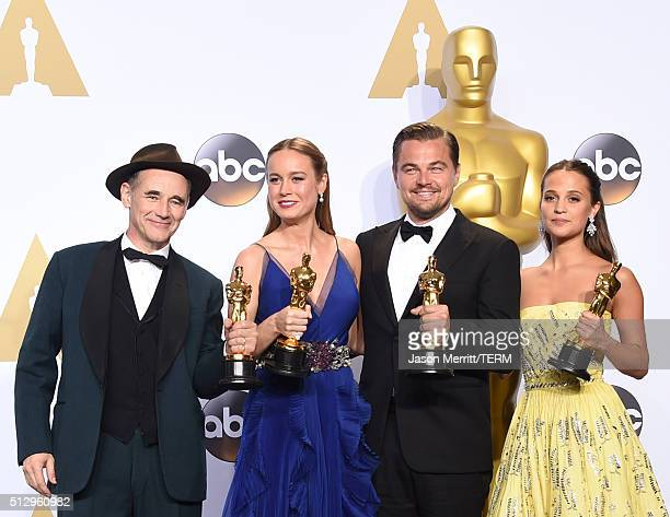 Actor Mark Rylance winner of Best Supporting Actor for 'Bridge of Spies' actress Brie Larson winner of Best Actress for 'Room' actor Leonardo...