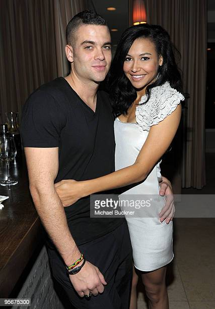 Actor Mark Salling and actress Naya Rivera attend the celebration of Glee's Golden Globe nominations with InStyle and 20th Century Fox held at Sunset...