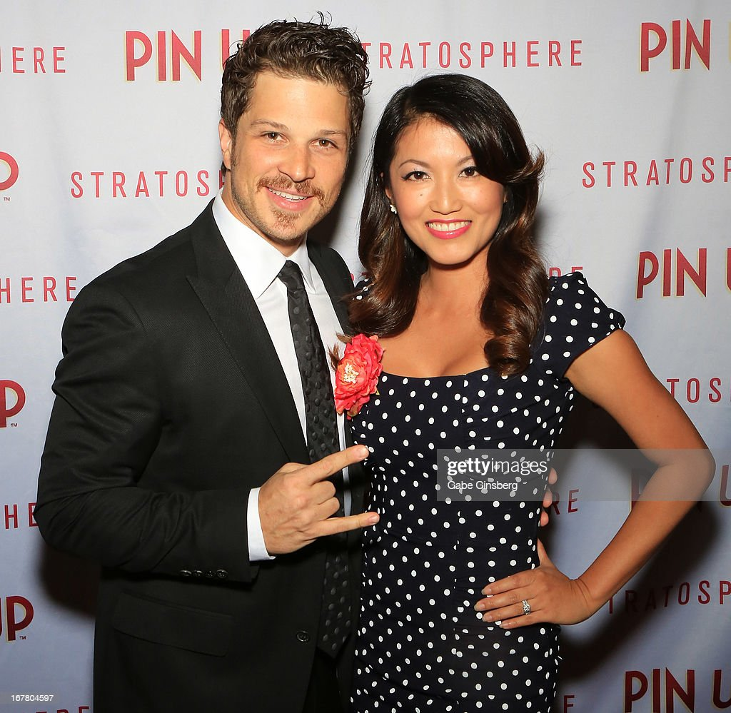 Actor Mark Shunock (L) and actress Cheryl Daro arrive at the premiere of the show 'Pin Up' at the Stratosphere Casino and Hotel on April 29, 2013 in Las Vegas, Nevada.