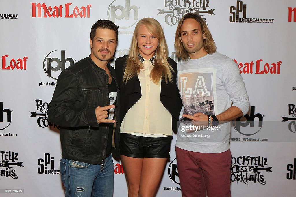 Actor Mark Shunock, entertainers Carrie St. Louis and Justin Mortelliti from the show 'Rock of Ages' arrive at the show 'RockTellz & CockTails presents Meat Loaf' at Planet Hollywood Resort & Casino on October 3, 2013 in Las Vegas, Nevada.
