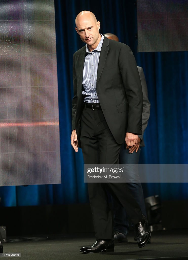 Actor <a gi-track='captionPersonalityLinkClicked' href=/galleries/search?phrase=Mark+Strong&family=editorial&specificpeople=750895 ng-click='$event.stopPropagation()'>Mark Strong</a> speaks onstage during the 'Low Winter Sun' panel discussion at the AMC portion of the 2013 Summer Television Critics Association tour - Day 3 at the Beverly Hilton Hotel on July 26, 2013 in Beverly Hills, California.