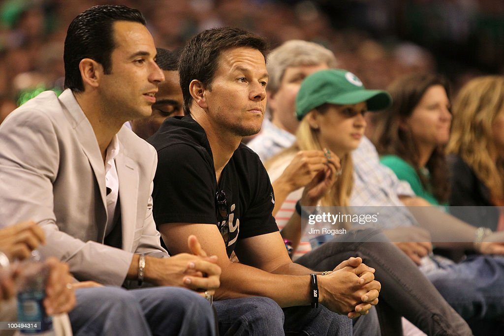 Actor Mark Wahlberg and IZOD IndyCar driver (L) Helio Castroneves attend Game Four of the Eastern Conference Finals between the Boston Celtics and the Orlando Magic during the 2010 NBA Playoffs at TD Banknorth Garden on May 24, 2010 in Boston, Massachusetts.