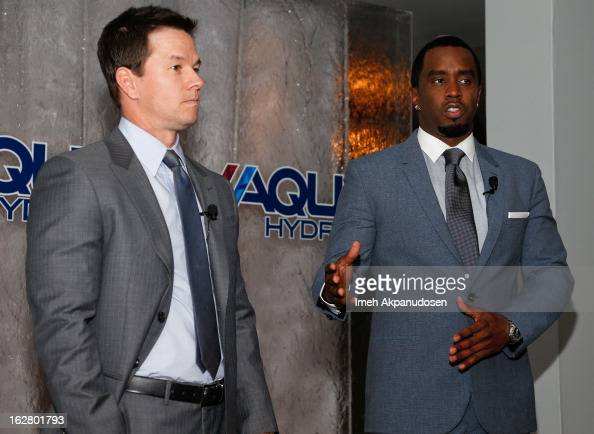 Actor Mark Wahlberg and producer/entrepreneur Sean Combs speak onstage while hosting a press conference to announce their newest venture Water Brand...