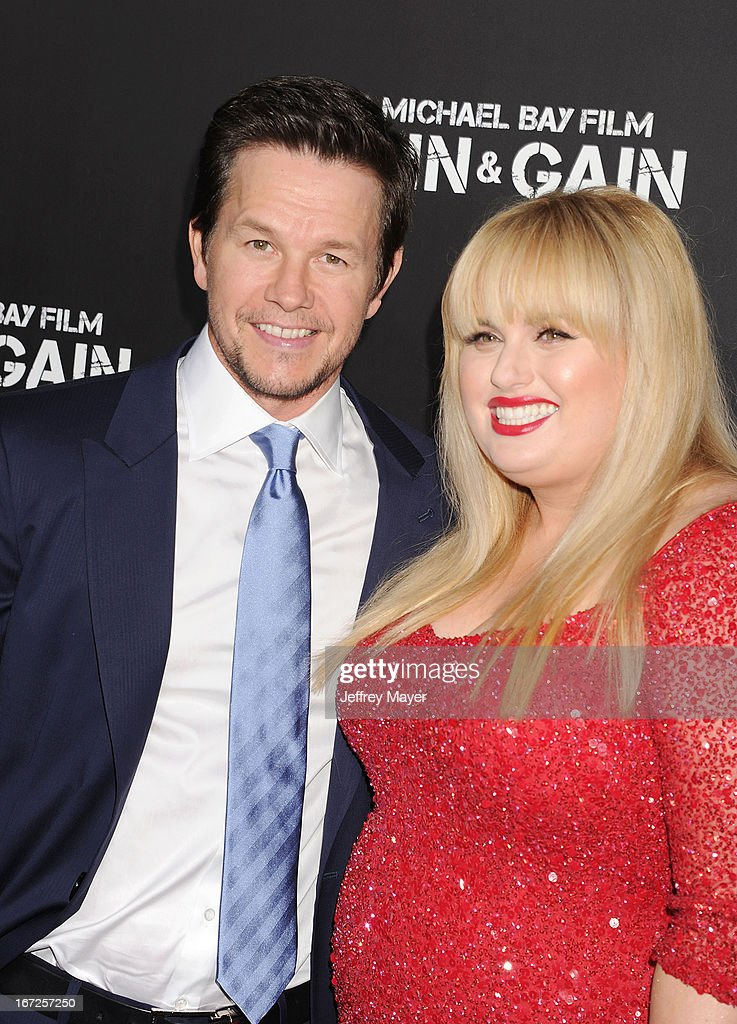 Actor Mark Wahlberg and Rebel Wilson attend the 'Pain & Gain' premiere held at TCL Chinese Theatre on April 22, 2013 in Hollywood, California.