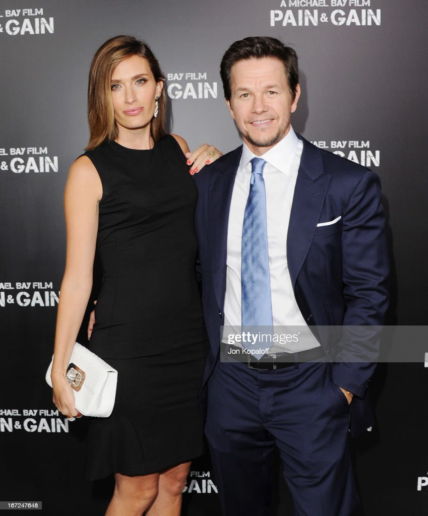 Actor Mark Wahlberg and wife Rhea Durham arrive at the Los Angeles Premiere 'Pain Gain' at TCL Chinese Theatre on April 22 2013 in Hollywood...