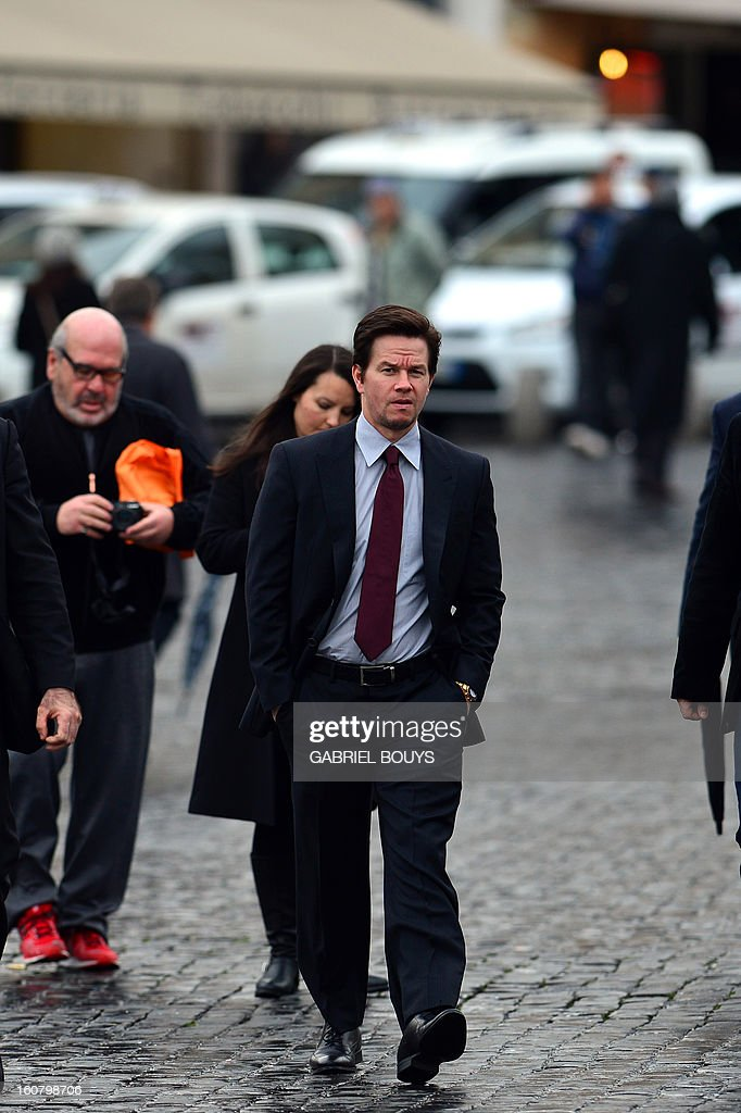 US actor Mark Wahlberg arrives to Piazza del Popolo (People's Square) in Rome on February 06, 2013, for a photo-call to promote his new film 'Broken City'.