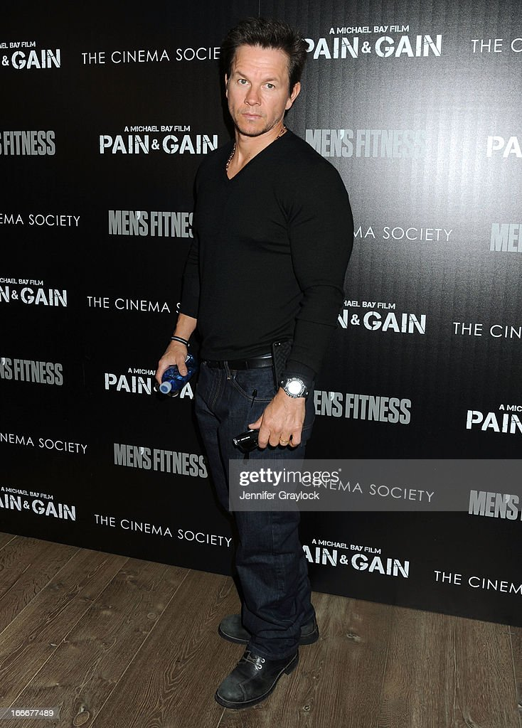 Actor <a gi-track='captionPersonalityLinkClicked' href=/galleries/search?phrase=Mark+Wahlberg&family=editorial&specificpeople=202265 ng-click='$event.stopPropagation()'>Mark Wahlberg</a> attends The Cinema Society and Men's Fitness host a screening of 'Pain and Gain' held at Crosby Street Hotel on April 15, 2013 in New York City.