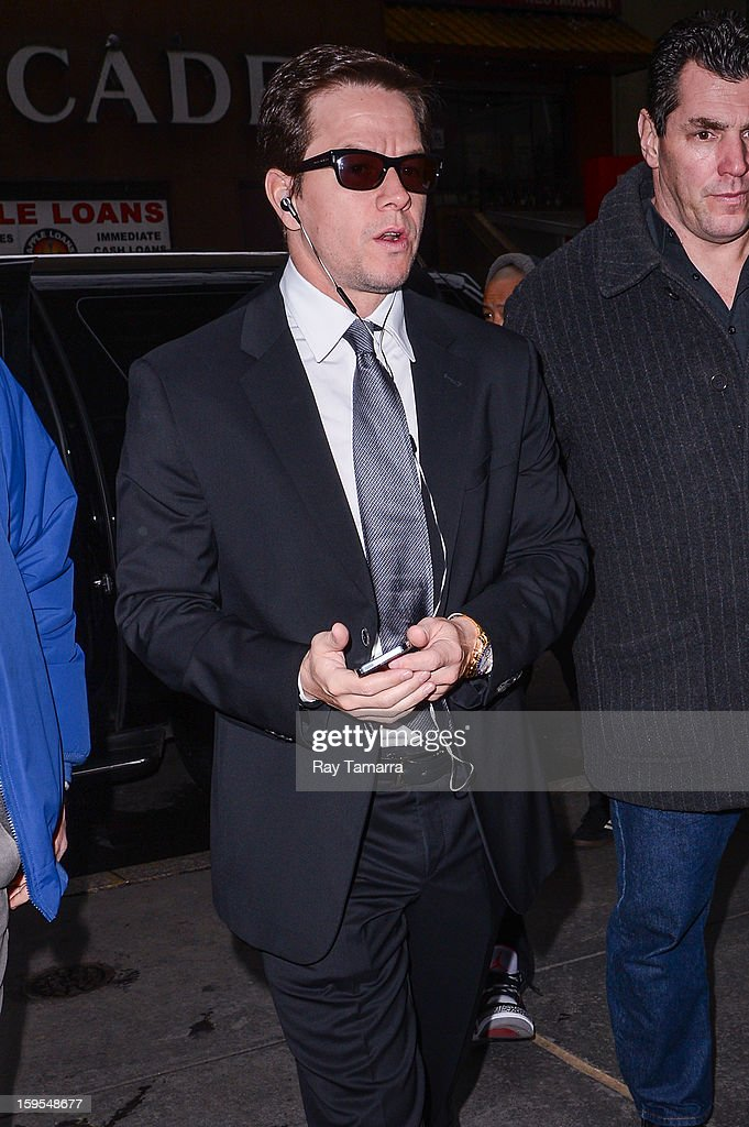 Actor <a gi-track='captionPersonalityLinkClicked' href=/galleries/search?phrase=Mark+Wahlberg&family=editorial&specificpeople=202265 ng-click='$event.stopPropagation()'>Mark Wahlberg</a> enters the 'Today Show' taping at the NBC Rockefeller Center Studios on January 15, 2013 in New York City.
