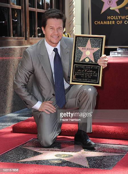 Actor Mark Wahlberg is honored on The Hollywood Walk Of Fame with the 2414th Star on July 29 2010 in Hollywood California
