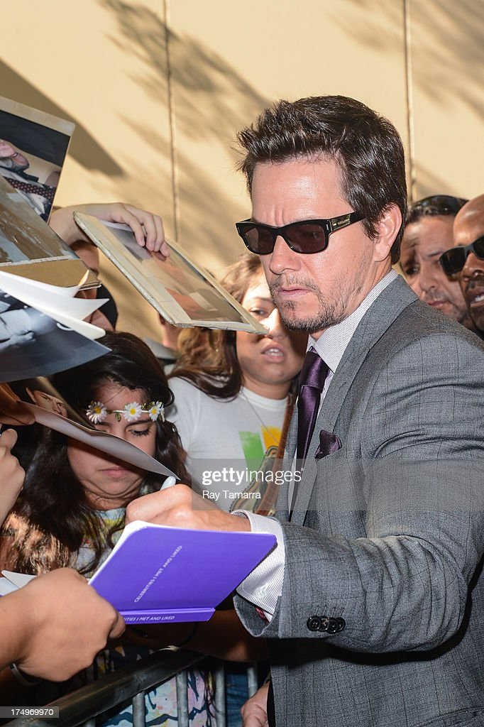 Actor Mark Wahlberg leaves the 'Live With Kelly And Michael' taping at the ABC Lincoln Center Studios on July 29, 2013 in New York City.