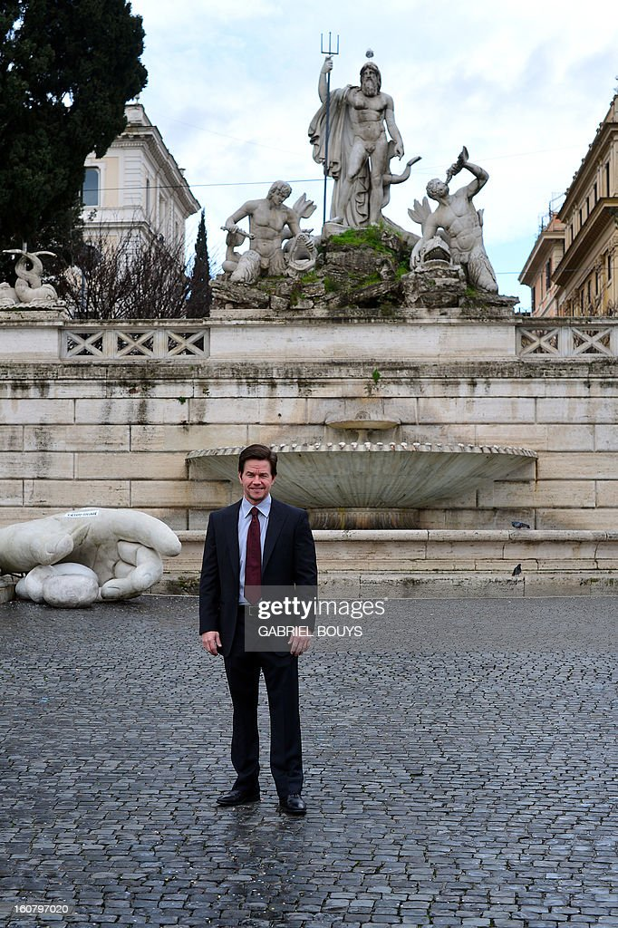US actor Mark Wahlberg poses on February 06, 2013 in Rome, during a photo-call to promote his new film 'Broken City'. AFP PHOTO / GABRIEL BOUYS