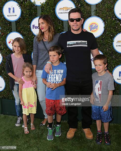 Actor Mark Wahlberg wife model Rhea Durham and children attend Safe Kids Day presented by Nationwide at The Lot on April 26 2015 in West Hollywood...