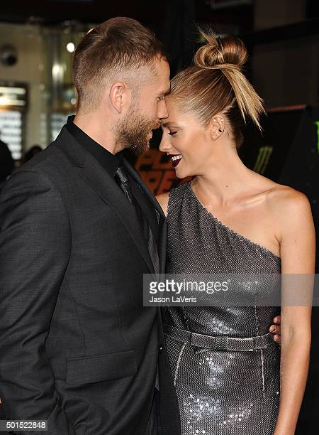 Actor Mark Webber and actress Teresa Palmer attend the premiere of 'Point Break' at TCL Chinese Theatre on December 15 2015 in Hollywood California