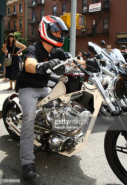 Actor MarkPaul Gosselaar arrives on a BMW motorcycle at Kiehl's LifeRide for amfAR Block Party at Kiehl's Since 1851 New York Flagship Store on...
