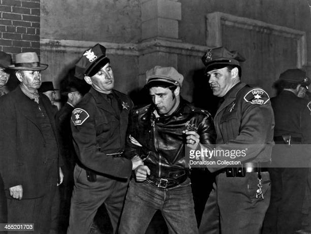 Actor Marlon Brando in a scene from the movie 'The Wild One' which came out in 1953