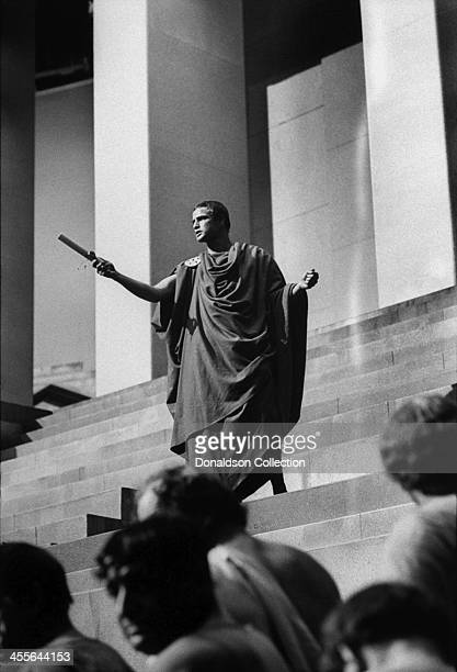 Actor Marlon Brando on the set of the movie 'Julius Caesar' which came out in 1953