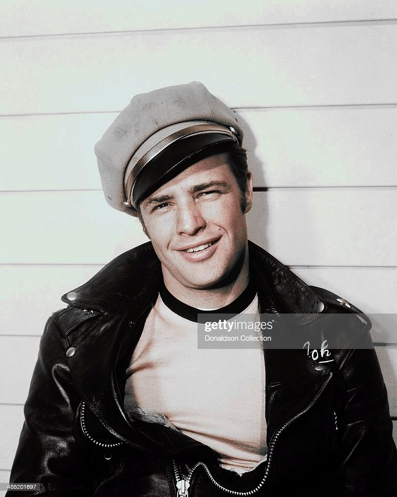 Actor <a gi-track='captionPersonalityLinkClicked' href=/galleries/search?phrase=Marlon+Brando&family=editorial&specificpeople=85897 ng-click='$event.stopPropagation()'>Marlon Brando</a> poses for a portrait for the release of the movie 'The Wild One' which came out in 1953.