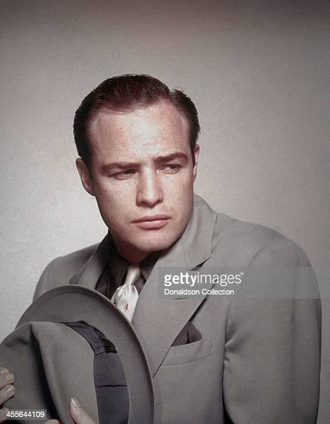 Actor Marlon Brando poses for a portrait on the set of the movie 'Guys And Dolls' which came out in 1955