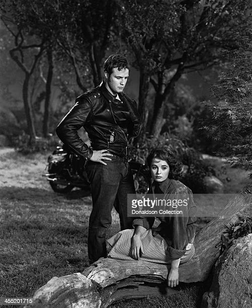 Actor Marlon Brando with Mary Murphy in a scene from the movie 'The Wild One' which came out in 1953