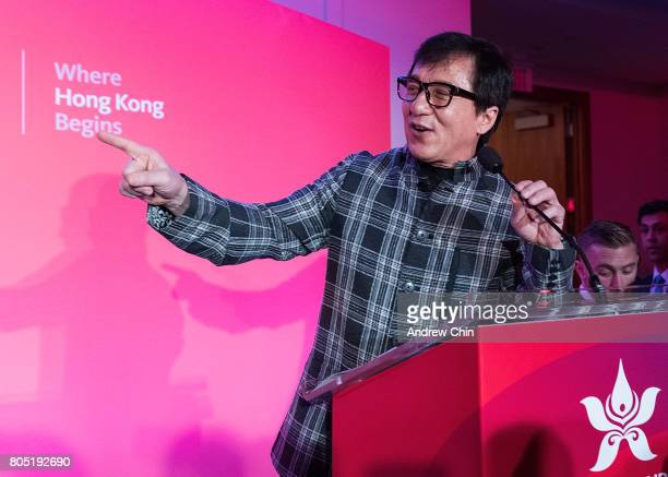 Actor martial artist Jackie Chan speaks to the audience on stage during the media QA session at Fairmont Pacific Rim on June 30 2017 in Vancouver...