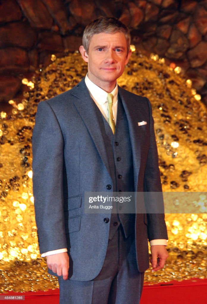 Actor <a gi-track='captionPersonalityLinkClicked' href=/galleries/search?phrase=Martin+Freeman&family=editorial&specificpeople=214753 ng-click='$event.stopPropagation()'>Martin Freeman</a> attends the 'The Hobbit: The Desolation of Smaug' European Premiere at Cinestar on December 9, 2013 in Berlin, Germany.