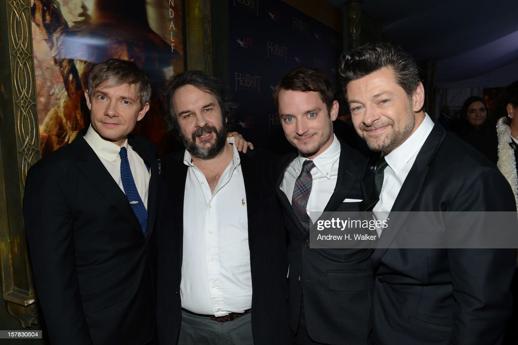 Actor <a gi-track='captionPersonalityLinkClicked' href=/galleries/search?phrase=Martin+Freeman&family=editorial&specificpeople=214753 ng-click='$event.stopPropagation()'>Martin Freeman</a>, filmmaker <a gi-track='captionPersonalityLinkClicked' href=/galleries/search?phrase=Peter+Jackson+-+Regista&family=editorial&specificpeople=203018 ng-click='$event.stopPropagation()'>Peter Jackson</a>, and actors <a gi-track='captionPersonalityLinkClicked' href=/galleries/search?phrase=Elijah+Wood&family=editorial&specificpeople=171364 ng-click='$event.stopPropagation()'>Elijah Wood</a> and <a gi-track='captionPersonalityLinkClicked' href=/galleries/search?phrase=Andy+Serkis&family=editorial&specificpeople=210893 ng-click='$event.stopPropagation()'>Andy Serkis</a> attend 'The Hobbit: An Unexpected Journey' New York Premiere Benefiting AFI - Red Carpet And Introduction at Ziegfeld Theater on December 6, 2012 in New York City.