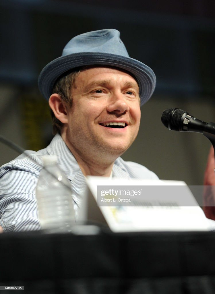 Actor <a gi-track='captionPersonalityLinkClicked' href=/galleries/search?phrase=Martin+Freeman&family=editorial&specificpeople=214753 ng-click='$event.stopPropagation()'>Martin Freeman</a> speaks at Warner Bros. Pictures and Legendary Pictures Preview of 'The Hobbit: An Unexpected Journey' during Comic-Con International 2012 at San Diego Convention Center on July 14, 2012 in San Diego, California.
