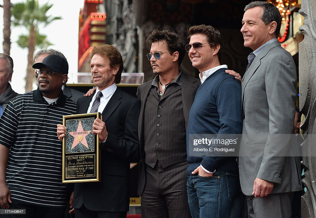 Actor Martin Lawerence, producer Jerry Bruckheimer, actors Johnny Depp, Tom Cruise and The Walt Disney Company Chairman and CEO Bob Iger attend Legendary Producer Jerry Bruckheimer Hollywood Walk of Fame Star Ceremony on the Hollywood Walk of Fame on June 24, 2012 in Hollywood, California.