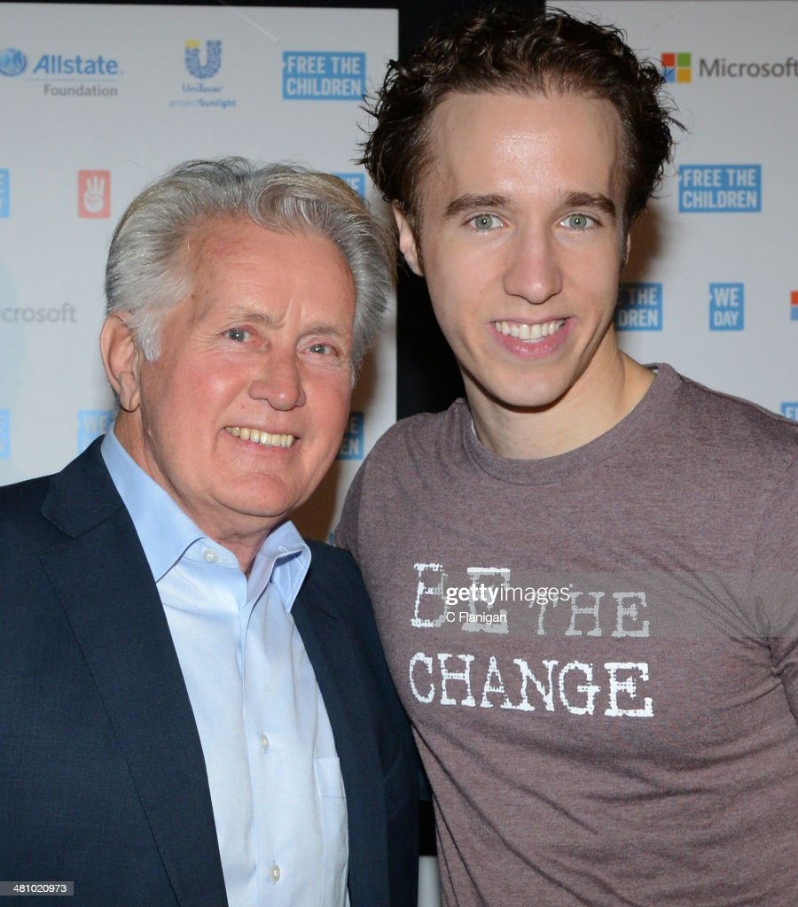 Actor Martin Sheen and Activist and Founder of Free the Children Craig Kielburger pose backstage during the 1st Annual 'We Day' California at ORACLE Arena on March 26, 2014 in Oakland, California.