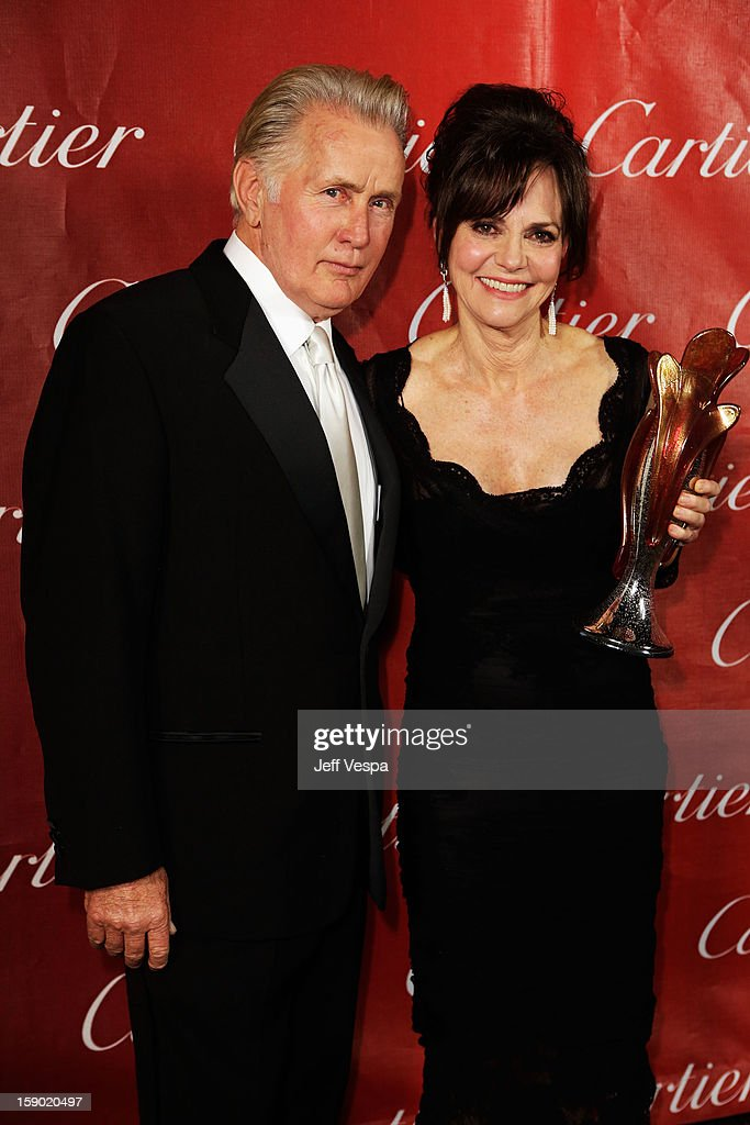 Actor Martin Sheen and Actress Sally Field pose with the Career Achievement Award during the 24th annual Palm Springs International Film Festival Awards Gala at the Palm Springs Convention Center on January 5, 2013 in Palm Springs, California.