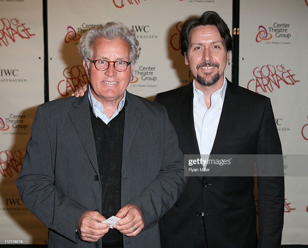 Actor <a gi-track='captionPersonalityLinkClicked' href=/galleries/search?phrase=Martin+Sheen&family=editorial&specificpeople=203224 ng-click='$event.stopPropagation()'>Martin Sheen</a> (L) and son Ramon Estevez (R) pose during the arrivals for the opening night performance of 'God of Carnage' at Center Theatre Group's Ahmanson Theatre on April 13, 2011 in Los Angeles, California.