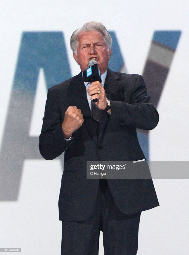 Actor <a gi-track='captionPersonalityLinkClicked' href=/galleries/search?phrase=Martin+Sheen&family=editorial&specificpeople=203224 ng-click='$event.stopPropagation()'>Martin Sheen</a> onstage during the 1st Annual 'We Day' California at ORACLE Arena on March 26, 2014 in Oakland, California.