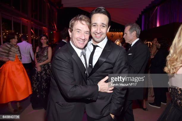 Actor Martin Short and LinManuel Miranda attend the 2017 Vanity Fair Oscar Party hosted by Graydon Carter at Wallis Annenberg Center for the...
