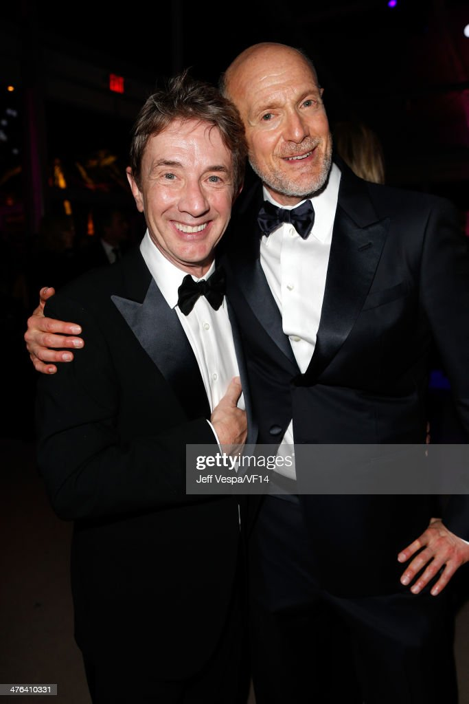 Actor <a gi-track='captionPersonalityLinkClicked' href=/galleries/search?phrase=Martin+Short&family=editorial&specificpeople=211569 ng-click='$event.stopPropagation()'>Martin Short</a> (L) and Producer <a gi-track='captionPersonalityLinkClicked' href=/galleries/search?phrase=Neil+Meron&family=editorial&specificpeople=731401 ng-click='$event.stopPropagation()'>Neil Meron</a> attend the 2014 Vanity Fair Oscar Party Hosted By Graydon Carter on March 2, 2014 in West Hollywood, California.