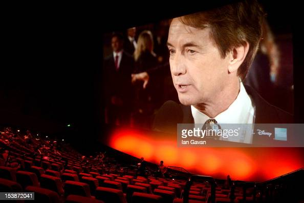 Actor Martin Short appears on screen from the 'Frankenweenie 3D' premiere from Leicester Square ahead of the screening of the film during the opening...