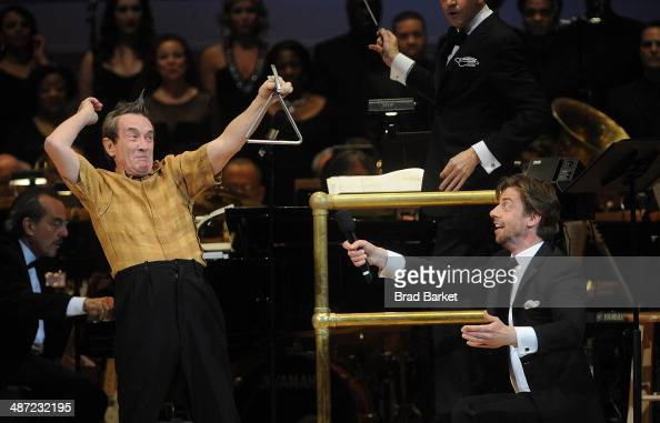 Actor Martin Short as character Ed Grimley and Christian Borle perform during The New York Pops 31st Birthday Gala at Carnegie Hall on April 28 2014...