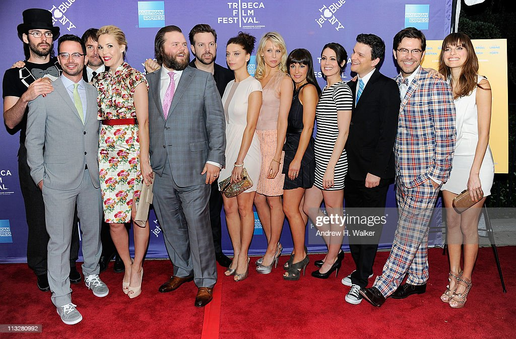 Actor Martin Starr, actor Nick Kroll, actor Will Forte, actress Leslie Bibb, actor Tyler Labine, actor Jason Sudeikis, actress Angela Sarafyan, actress Lucy Punch, actress Lindsay Sloane, actress Michelle Borth, co-director/co-writer Peter Huyck, co-director/co-writer Alex Gregory, and actress Lake Bell attend the premiere of 'A Good Old Fashioned Orgy' during the 2011 Tribeca Film Festival at SVA Theater on April 29, 2011 in New York City.