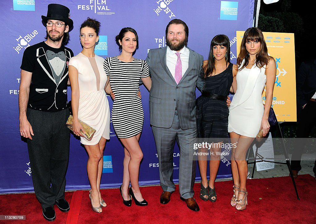 Actor Martin Starr, actress Angela Sarafyan, actress Michelle Borth, actor Tyler Labine, actress Lindsay Sloane and actress Lake Bell attend the premiere of 'A Good Old Fashioned Orgy' during the 2011 Tribeca Film Festival at SVA Theater on April 29, 2011 in New York City.